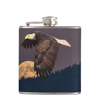 EAGLE AND MOON HIP FLASK
