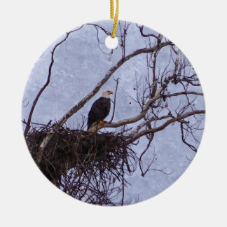 Eagle And Nest Painterly Ceramic Ornament