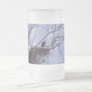 Eagle And Nest Painterly Frosted Glass Beer Mug