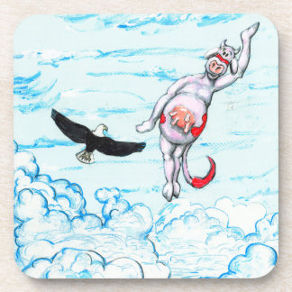 Eagle and pink leaping cow drink coasters