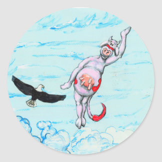 Eagle and pink leaping cow round sticker