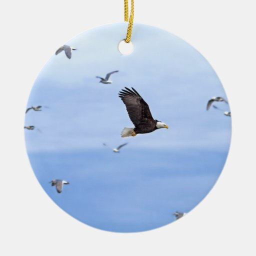 Eagle and Seagulls Flying Ceramic Ornament
