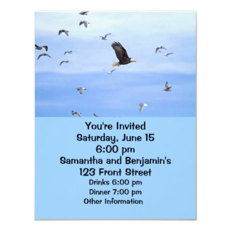 """Eagle and Seagulls Flying 4.25"""" X 5.5"""" Invitation Card"""