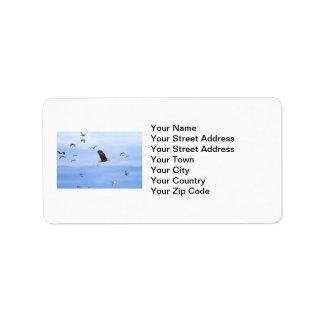 Eagle and Seagulls Flying Custom Address Labels