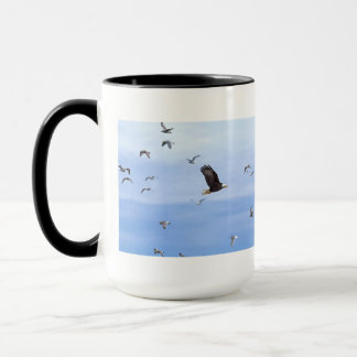 Eagle and Seagulls Flying Mug