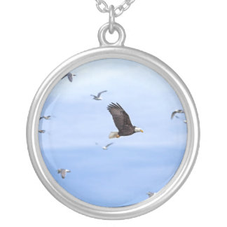 Eagle and Seagulls Flying Round Pendant Necklace