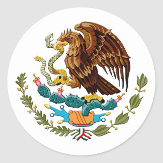 Eagle and snake Mexico Emblem for Mexicans Classic Round Sticker