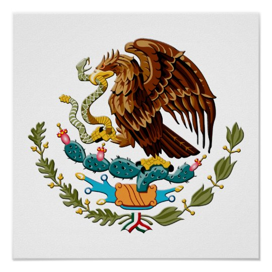Eagle and snake Mexico Emblem for Mexicans Poster