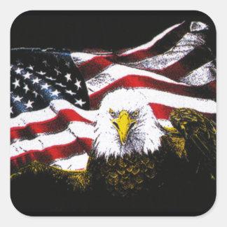 Eagle And USA Flag - Black Square Sticker