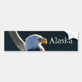 Eagle at Attention; Alaska Bumper Sticker
