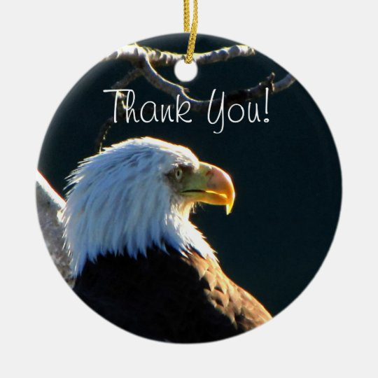 Eagle at Attention; Thank You Ceramic Ornament