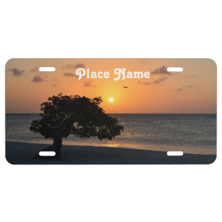 Eagle Beach Sunset License Plate