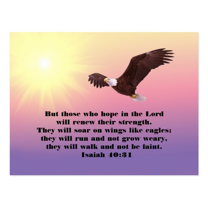 Eagle Bible Verse Hope and Strength Postcard | Zazzle