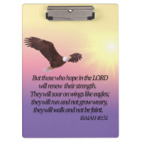 Eagle Bible Verse Yellow Pink Purple Clipboard