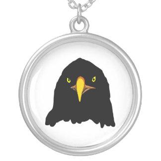 eagle black round pendant necklace
