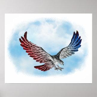 Eagle blanco y azul rojo en las nubes impresiones