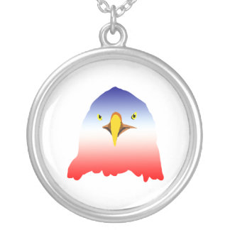 eagle blue white red cartoon round pendant necklace