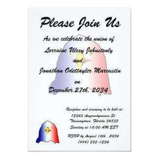 eagle blue white red vertical 5x7 paper invitation card