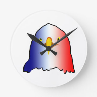 eagle blue white red vertical round clock