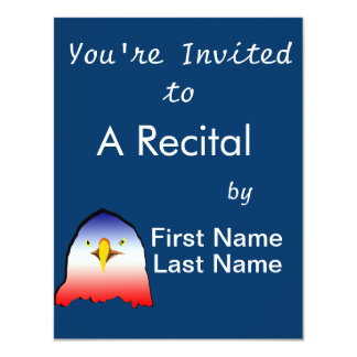 eagle blue white red w outline horizontal gradient 4.25x5.5 paper invitation card