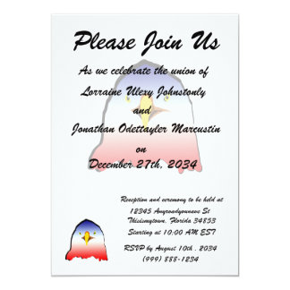 eagle blue white red w outline 5x7 paper invitation card