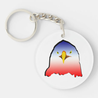 eagle blue white red w outline Double-Sided round acrylic keychain