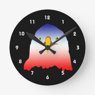 eagle blue white red w outline round clock