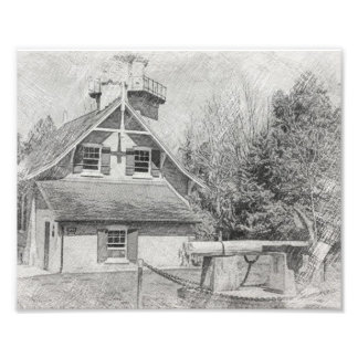Eagle Bluff Lighthouse - Door County - Pencil Draw Photo Print
