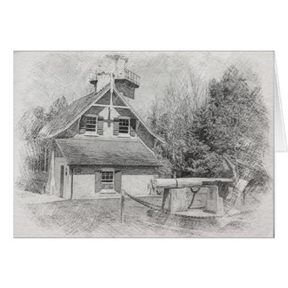 Eagle Bluff Lighthouse Door County Pencil Drawing Card
