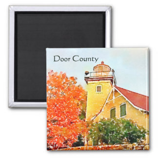 Eagle Bluff Lighthouse Watercolor Door County Magnet