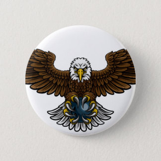 Eagle Bowling Sports Mascot Button