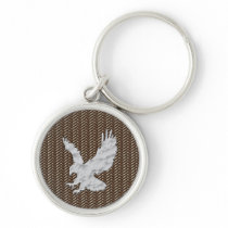 Eagle Brown Leather Keychain