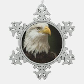 Eagle calvo adorno de peltre en forma de copo de nieve