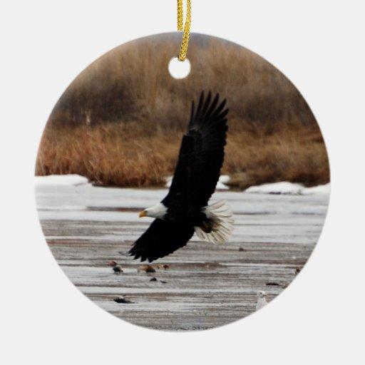 Eagle calvo adorno navideño redondo de cerámica
