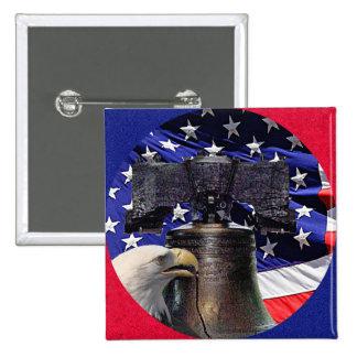 Eagle calvo americano, Bell y bandera Pin Cuadrado