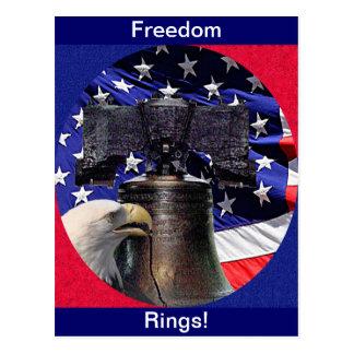 Eagle calvo americano, Bell y bandera Tarjeta Postal