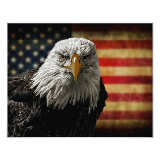 Eagle calvo americano en bandera del Grunge Fotografía