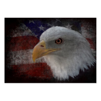Eagle calvo americano en bandera tarjetas de visita grandes