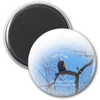 Eagle calvo americano imán redondo 5 cm