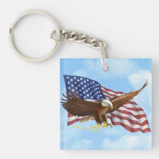 Eagle calvo americano llavero cuadrado acrílico a doble cara