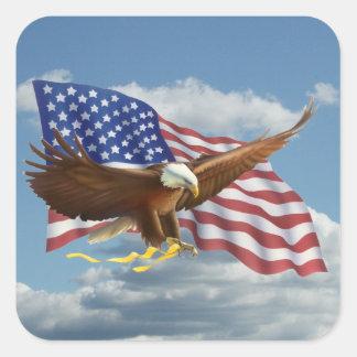 Eagle calvo americano calcomanía cuadradas personalizada