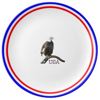 Eagle calvo americano plato de cerámica