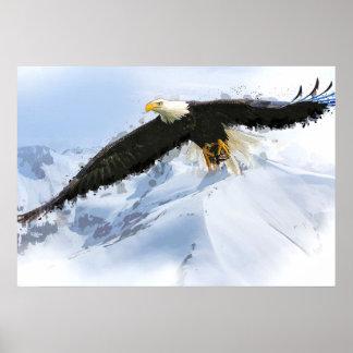 Eagle calvo americano que se eleva sobre el póster