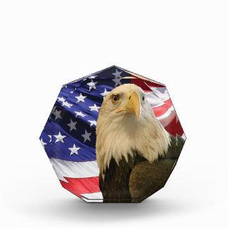 Eagle calvo americano y bandera