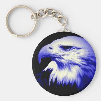 Eagle calvo azul llavero redondo tipo pin