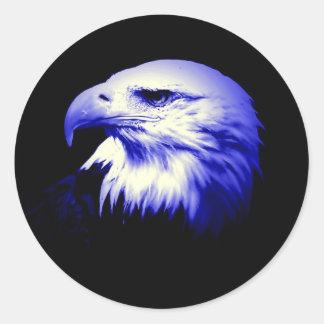 Eagle calvo azul pegatinas redondas