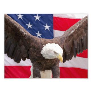 Eagle calvo con el rompecabezas de la bandera fotografías