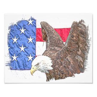 Eagle calvo con la bandera americana cojinete
