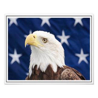 Eagle calvo con la bandera americana fotografía