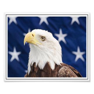 Eagle calvo con la bandera americana fotografías